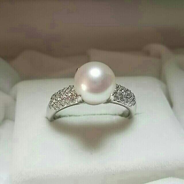 超美品 花珠真珠 ダイヤリング レディースのアクセサリー(リング(指輪))の商品写真