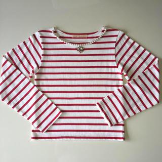 ハニーミーハニー(Honey mi Honey)のパール&チェコストーン付きボーダーTシャツ (Tシャツ(長袖/七分))