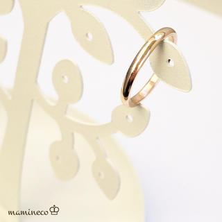 16号サイズ ステンレス製 つやつやピンクゴールドリング2mmタイプ 指輪(リング(指輪))