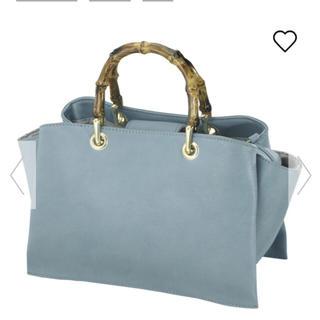ジーユー(GU)の新品同様☆ GU ジーユー フェイクバンブー バッグ ブルー(ハンドバッグ)