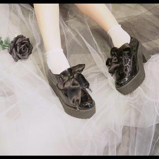 イートミー(EATME)のEATME サテンレースアップシューズ(ローファー/革靴)