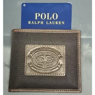ラルフローレン(Ralph Lauren)の新品未使用 ラルフローレン パス付き二つ折り財布 本革ブラック(折り財布)