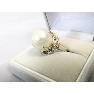 真珠 指輪 大粒 パール 12mm Pt900 純白 13号(リング(指輪))
