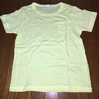 ジーユー(GU)のネオンイエロー 丸首ポケットT 110サイズ 新品 ダンス プール(Tシャツ/カットソー)