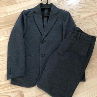 ユニクロ(UNIQLO)のユニクロコンフォートジャケット、パンツセット、グレー140サイズ(ドレス/フォーマル)