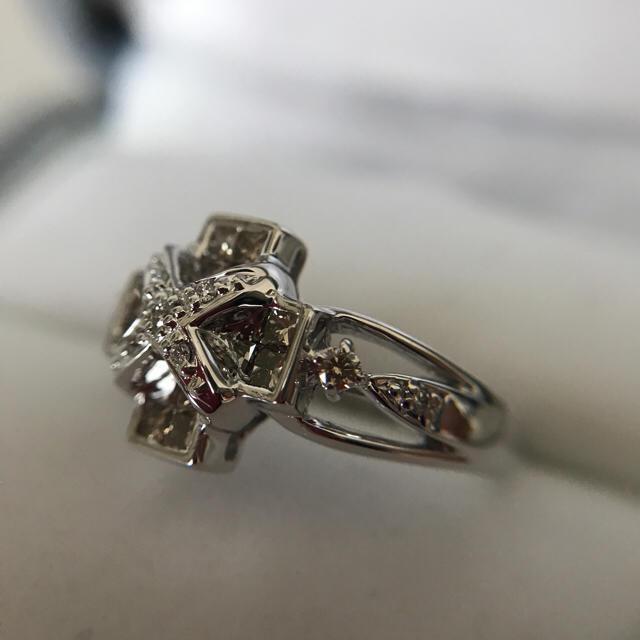 K18WG ブラウンダイヤモンドリング レディースのアクセサリー(リング(指輪))の商品写真
