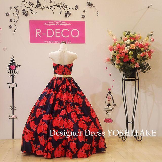 ウエディングドレス ネイビー/赤花柄 披露宴/二次会 レディースのフォーマル/ドレス(ウェディングドレス)の商品写真