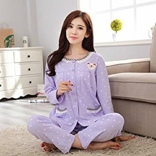 4L 新品 パジャマ 紫 大きいサイズ ルームウェア 部屋着 レディース 長袖(パジャマ)