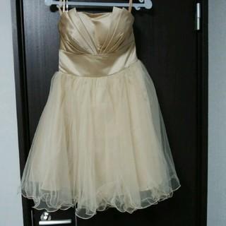 新品 L ドレス ゴールド チュールドレス レディース ミディアムドレス 人気(ミディアムドレス)