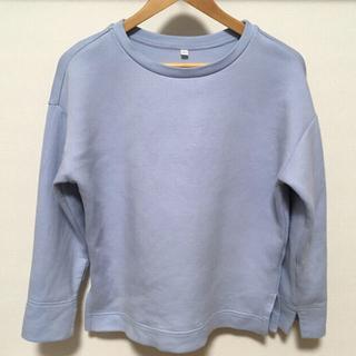 ムジルシリョウヒン(MUJI (無印良品))の2017年購入 無印良品 綿混二重編みプルオーバー 婦人M~L ライトブルー(カットソー(長袖/七分))