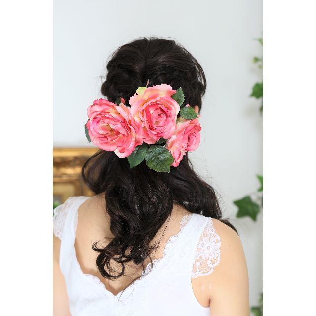 【新品、日本製】造花のヘッドドレス*ピンク*着物・ウェディング*6点 レディースのヘアアクセサリー(その他)の商品写真