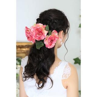 【新品、日本製】造花のヘッドドレス*ピンク*着物・ウェディング*6点(その他)