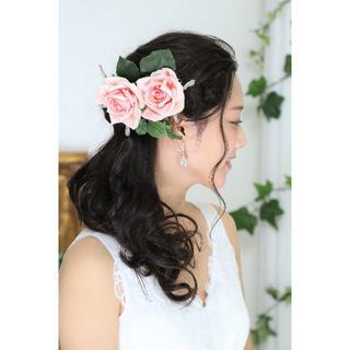 【新品、日本製】造花のヘッドドレス*薔薇*着物・ウェディング*5点(その他)