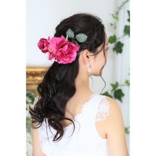 【新品、日本製】造花のヘッドドレス*薔薇*着物・ウェディング*豪華17点(その他)