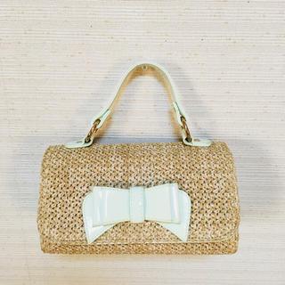 セシルマクビー(CECIL McBEE)のリボンモチーフ付バッグ パステルグリーン(ハンドバッグ)