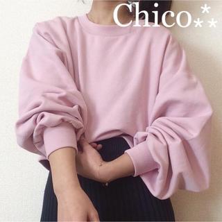 2018ss⁂¥6372【Chico】ボリューム袖ビッグシルエットスウェット