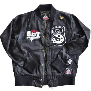 サビ(SABIT)のSABIT NYC サテンジャケット 黒 Mサイズ インポート(スカジャン)
