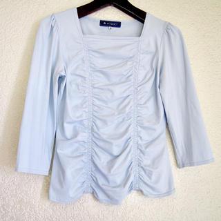 エムズグレイシー(M'S GRACY)の新品 / M'S GRACY ライトブルー ストレッチトップス(Tシャツ(長袖/七分))