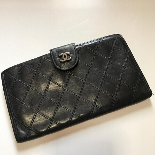 039dcc16a948 CHANEL(シャネル)のCHANEL マトラッセ ビコローレ がま口二つ折り長財布 ブラック レザー レディース