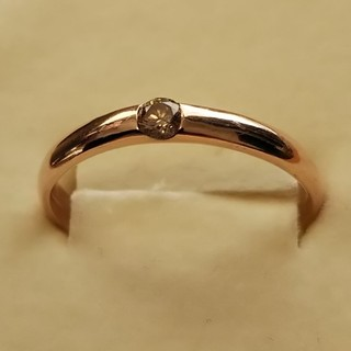 シャンパンブラウンダイヤ0.10ct一粒K10ピンクゴールドリング(リング(指輪))