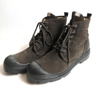 モンクレール(MONCLER)の希少◆正規品◆美品◆モンクレール スウェード ブーツ ロゴ 茶 43 28cm(ブーツ)