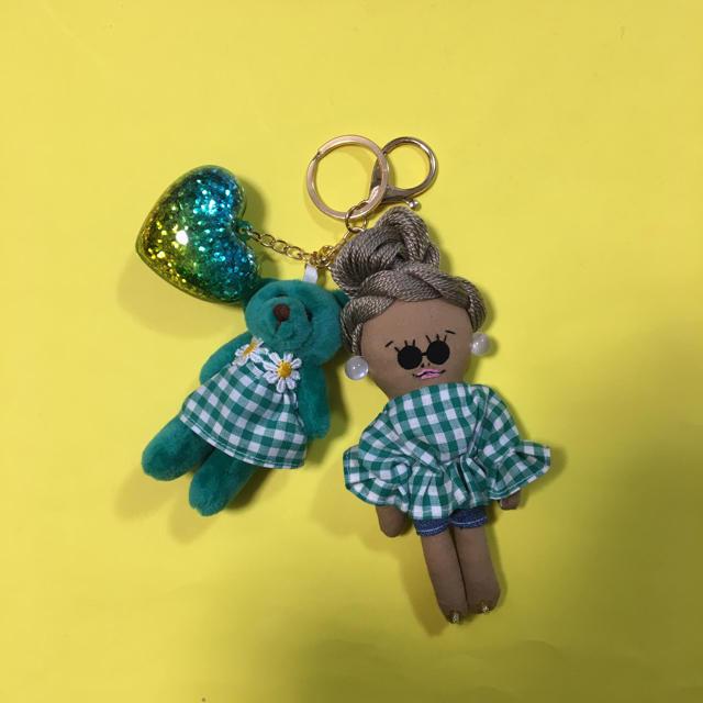 ドールチャーム   くまちゃんとリンクコーデ ハンドメイドのアクセサリー(チャーム)の商品写真