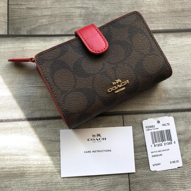 buy popular c0976 c26fe COACH コーチ 折り財布 レッド 赤 シグネチャーブラウン 二つ折り財布 | フリマアプリ ラクマ