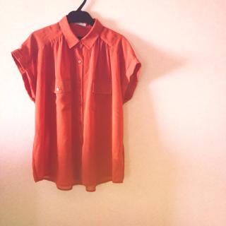 スモークオレンジ♡シフォンT(シャツ/ブラウス(半袖/袖なし))