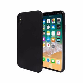 iPhoneX ケース TPU ケース ストラップホール ソフトケース ブラック(iPhoneケース)