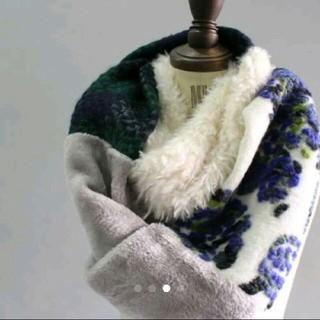 アンティカ(antiqua)のアンティカ ファーボア花柄チェック柄切り替えロングスヌードマフラー(スヌード)