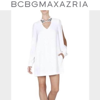 ビーシービージーマックスアズリア(BCBGMAXAZRIA)のBCBG ホワイトシャツワンピース 定価¥56,000 セレブ御用達(ミニワンピース)