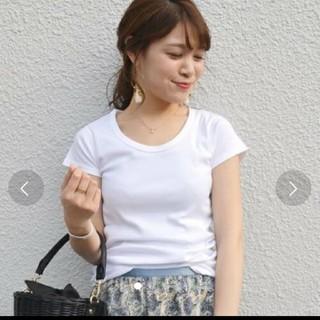 シップスフォーウィメン(SHIPS for women)のSHIPS for women ホワイトUネック Tシャツ(Tシャツ(半袖/袖なし))
