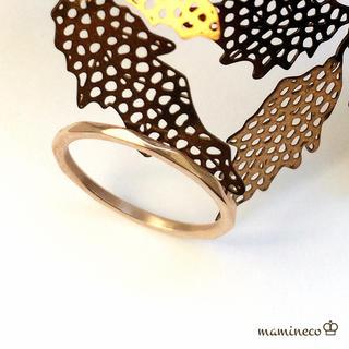 16号サイズ ステンレス製 ピンクゴールドリング  カットタイプ 指輪(リング(指輪))