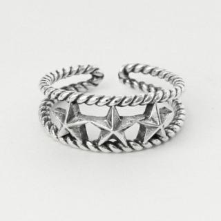925シルバー ユニセックス スター デザイン リング 指輪 フリーサイズ(リング(指輪))