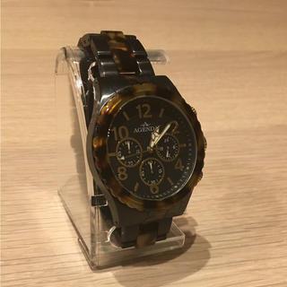 即決者800円引き!agenda 鼈甲柄 腕時計
