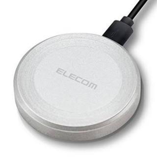 エレコム(ELECOM)の未使用 ELECOM Qi規格対応 ワイヤレス充電器 シルバー iphone X(バッテリー/充電器)