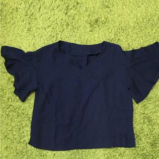 ジーユー(GU)のGU ドレープブラウス (ネイビー)(シャツ/ブラウス(半袖/袖なし))