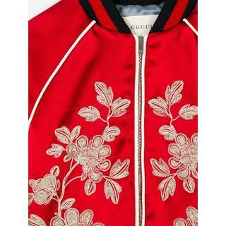 グッチ(Gucci)の●Gucci17AW赤サテン地×シルバー刺繍ボンバージャケット●キッズ12大人も(ブルゾン)
