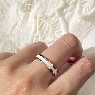 リング 18K RGP ゴールド ホワイト シンプル 上質 指輪 gu1301e(リング(指輪))