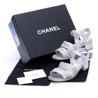 シャネル(CHANEL)のシャネル サンダル マトラッセ G30695 メタリック 100637(サンダル)