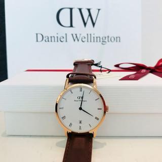 ダニエルウェリントン(Daniel Wellington)のDW DAPPER 38MM 青針 日付 ブラウン(腕時計(アナログ))
