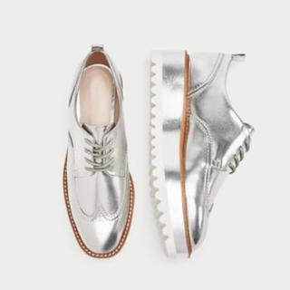 ザラ(ZARA)のラス1 完売品 ザラ シルバー プラットフォーム ブルーチャー シューズ ブーツ(ローファー/革靴)