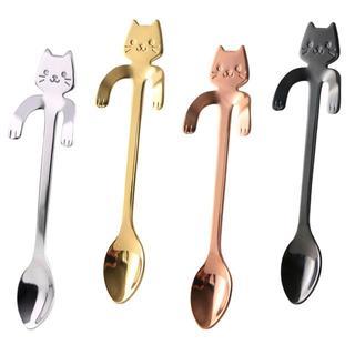 猫スプーン♪ねこティースプーン4本セット☆ 新品未使用品☆送料無料♪(カトラリー/箸)