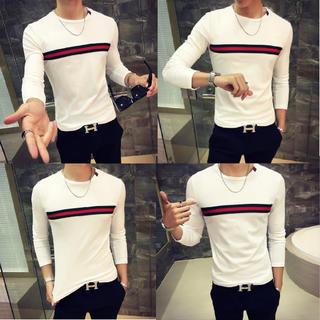 アンドバイピーアンドディー(&byP&D)の注目商品 長袖Tシャツ メンズ ロンT センターライン 白 M/L選べます(Tシャツ/カットソー(七分/長袖))