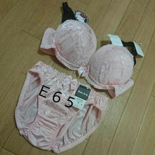 E65清楚系レースブラセット  桜色(ブラ&ショーツセット)