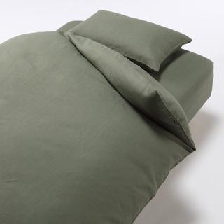ムジルシリョウヒン(MUJI (無印良品))の無印良品 麻平織 布団カバー ボックスシーツ 枕カバー カーキ(シーツ/カバー)