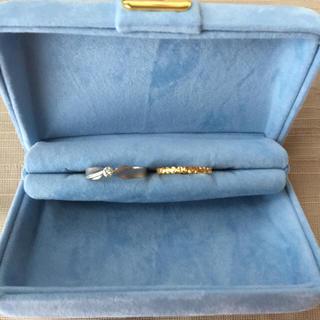【お値下げ】k18 YG 新品 指輪   K14 WG ダイヤ 指輪 2個セット(リング(指輪))