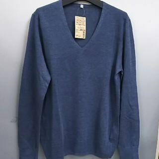 ムジルシリョウヒン(MUJI (無印良品))の新品 無印良品 フレンチリネンUVカット Vネックセーター・ブルー・L(ニット/セーター)