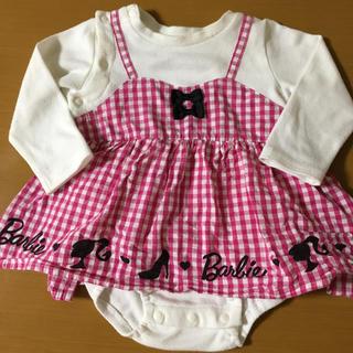 バービー(Barbie)のBarbie ♡ ピンクギンガムチェック ワンピ風ロンパース(ロンパース)