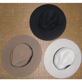 シマムラ(しまむら)の3色セット 美品 麦わら帽子 中折れ ハット 57.5cm 紐調整可能(麦わら帽子/ストローハット)